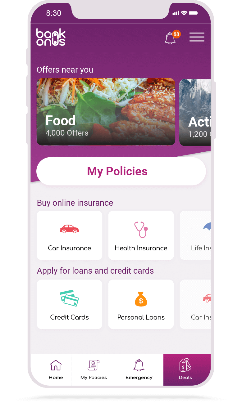 BankOnUs | Mobile App | Home Screen